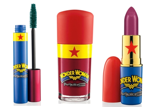 MAC's Wonder Woman collection; L-R: Mascara, Nail Lacquer, Lipstick. Images via refinery29.com